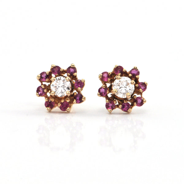 Vintage 14K Yellow Gold Diamond and Ruby Flower Stud Earrings + Montreal Estate Jewelers