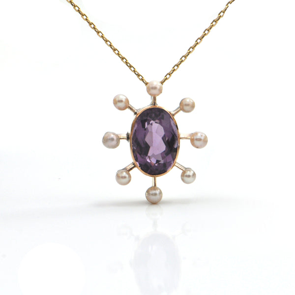 Amethyst and Pearl Pendant in Yellow Gold