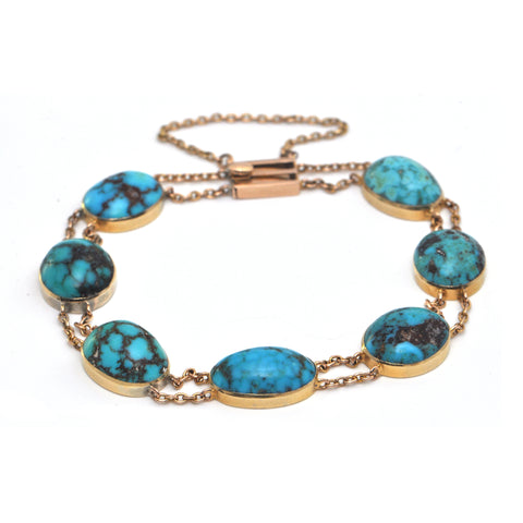Antique Turquoise and 18K Yellow Gold Bracelet C.1900