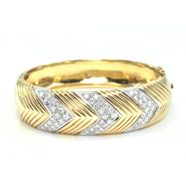 Vintage 18K Yellow and White Gold Cuff with Diamonds in a Triangle Motif + Montreal Estate Jewelers