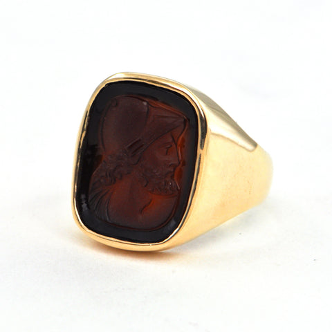 Carved Carnelian Intaglio ring in 14k Circa 1970 - Montreal estate jewellers