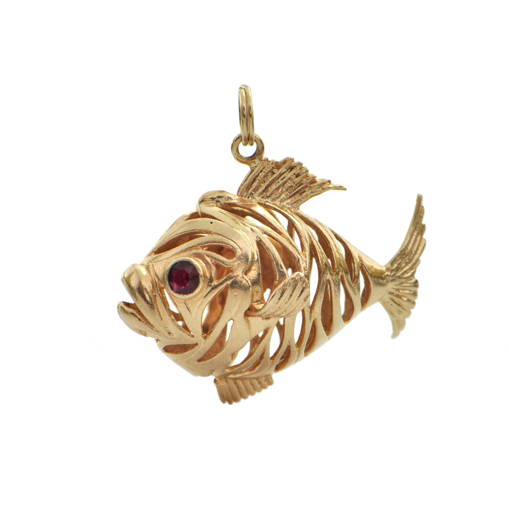 14K Yellow Gold Fish Charm + Montreal Estate Jewlers