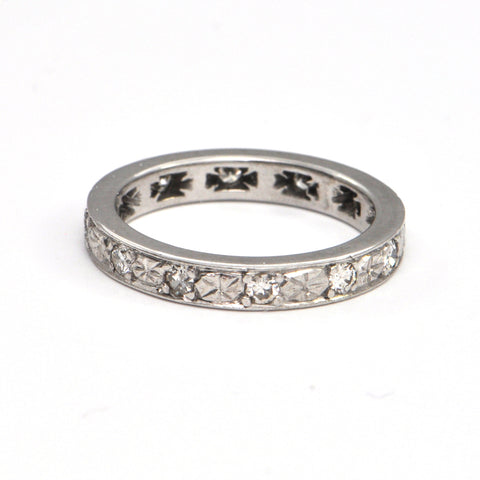 Vintage Diamond Eternity Band 18k white gold, montreal jeweller, westmount