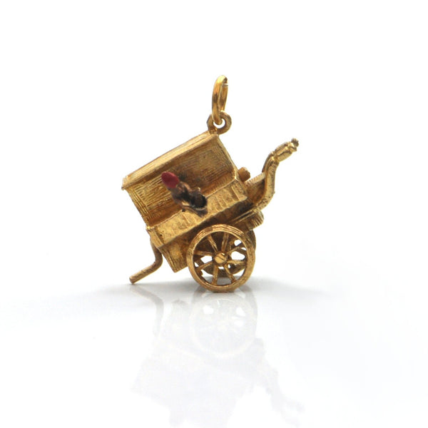 English 9K Yellow Gold Music Cart With Movable Monkey Charm 1957 + Montreal Estate Jewelers