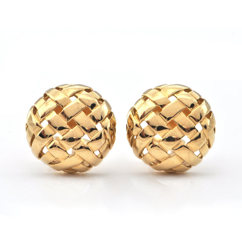 Tiffany & Co. Vannerie 18K Yellow Gold Basketweave Earring C. 1995 + Montreal Estate Jewelers