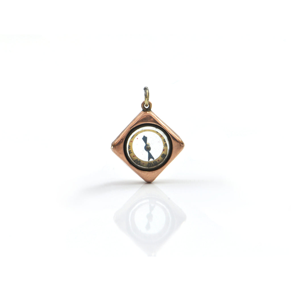 Miniature 9K Yellow Gold Compass Pendant + Montreal Estate Jewelers