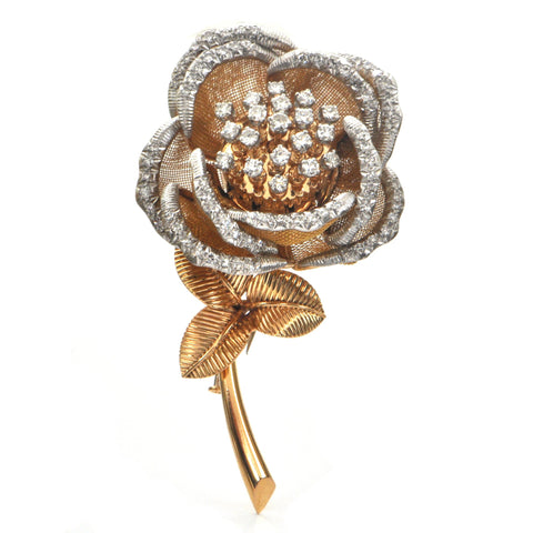French 2.28ct Diamond Rose Trembler in 18K Yellow Gold and Platinum C. 1915 + Montreal Estate Jewelers