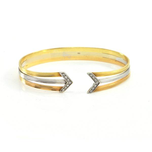 Vintage 18K White, Yellow and Rose Gold Cuff Bracelet with Diamond Arrows - Montreal Estate Jewelers