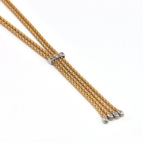 Italian Vintage Faux Lariat 14k necklace with Diamonds, Montreal Jeweller, westmount
