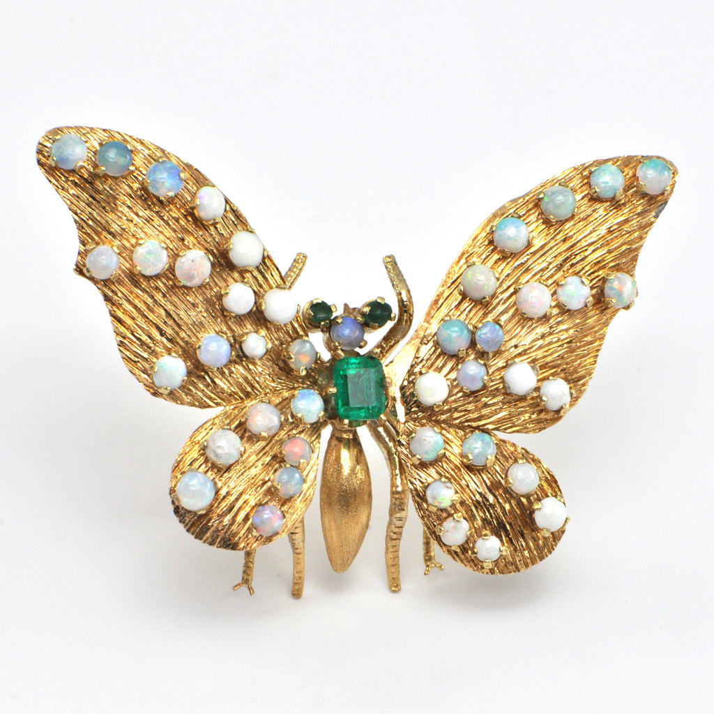 Emerald and Opal Gold Butterfly Trembler c.1940-1950 - Montreal Estate Jewellers