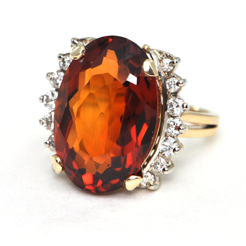 14.3 ct Madeira Citrine and Diamond Ring Retro Circa 1950 - montreal estate jewellers