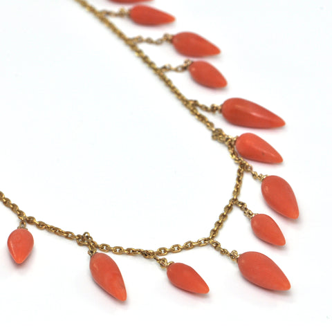 Vintage French Coral and 18K Yellow Gold Tear Drop Necklace + Montreal Estate Jewelers