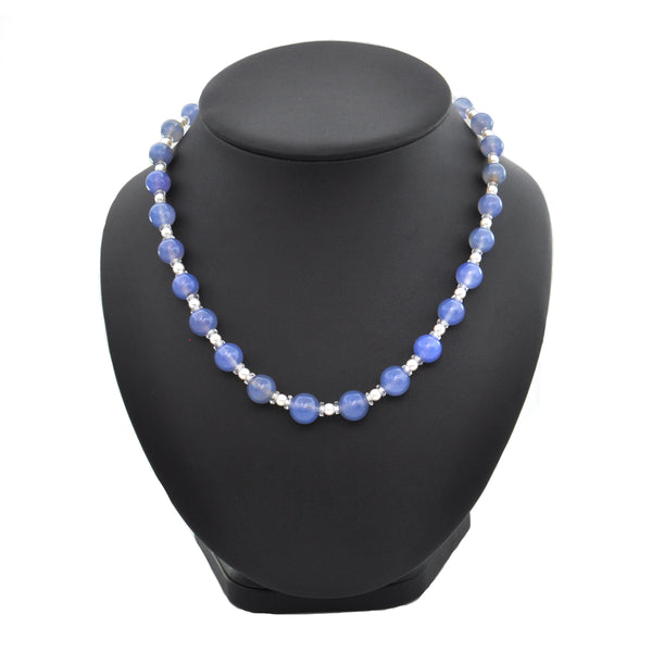 Pearl, Chalcedony and Rock Crystal 14K White Gold Graduated Bead Necklace - estate jewellers montreal