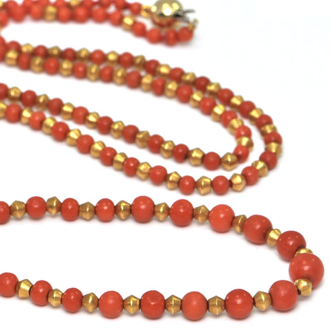Vintage Italian Single Strand Graduated Coral and 22K Yellow Gold Beaded Necklace + Montreal Estate Jewelers