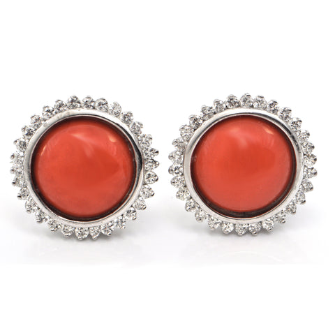 1.8CT Diamond and Red Coral Ear Clips  C.1970-1980 + Montreal Estate Jewelers