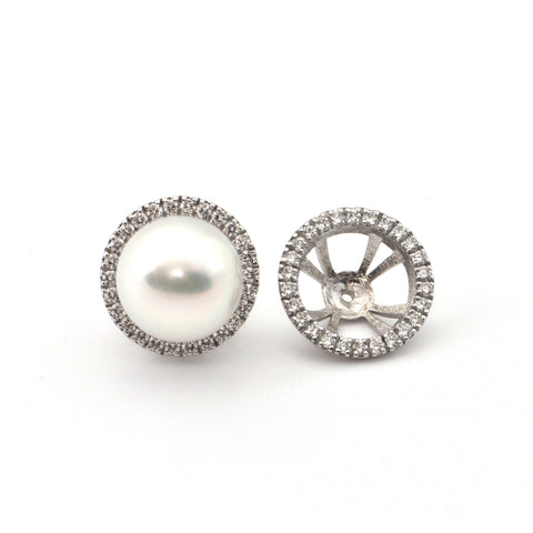 0.65CT Diamond 18K White Gold  Pearl Earring Enhancers + Montreal Estate Jewelers