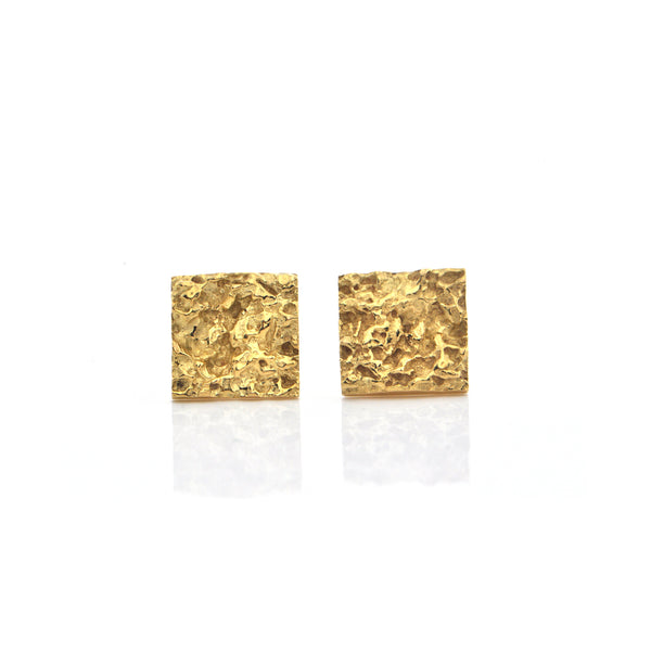 Vintage Textured Square 18K Yellow Gold Earrings + Montreal Estate Jewelers