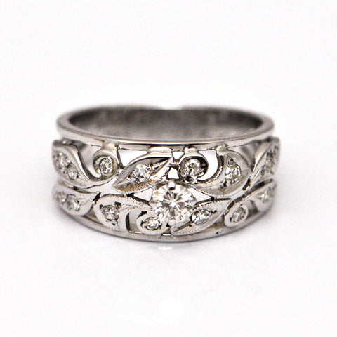 Vintage White gold diamond floral ring