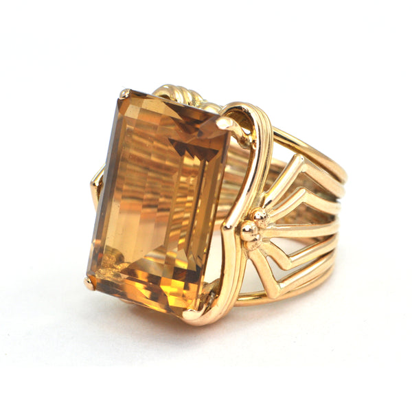 20 ct Citrine Retro cocktail Ring circa 1950 - Daisy Exclusive - Montreal Estate Jewellers