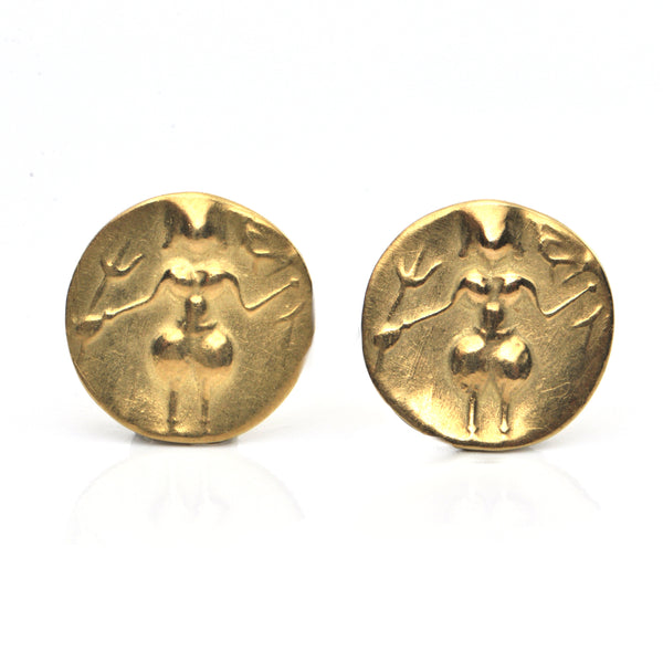 Vintage 18K Yellow Gold Woman Warrior Earring + Montreal Estate Jewelers