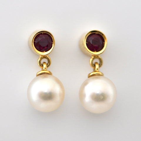 Vintage 18K Ruby & Pearl Earrings