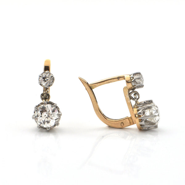 Second Empire French 1.53ct Diamond and 18K Gold Drop Earrings C. 1850 + Montreal Estate Jewelers