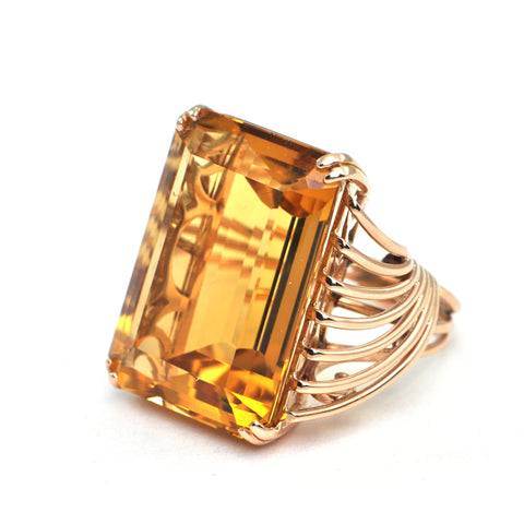 33 ct Citrine Rose gold Cocktail Ring Circa 1940 - Daisy Exclusive - Montreal Estate Jewellers