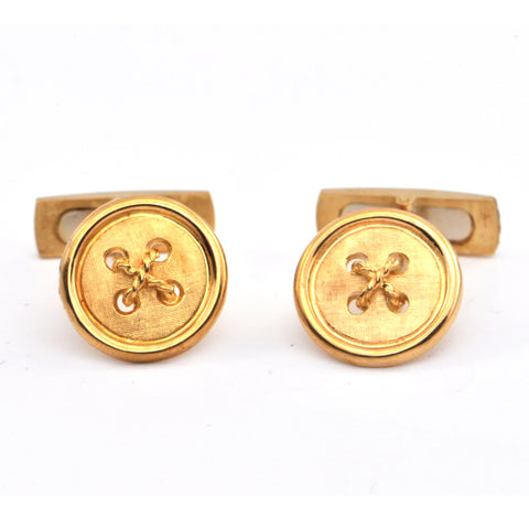 Vintage Button style 18k gold Cufflinks , Montreal jewellers