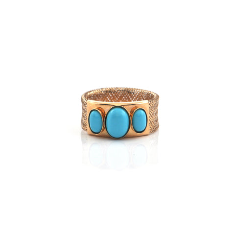 Italian Turquoise 14K Yellow Gold Ring + Montreal Estate Jewelers