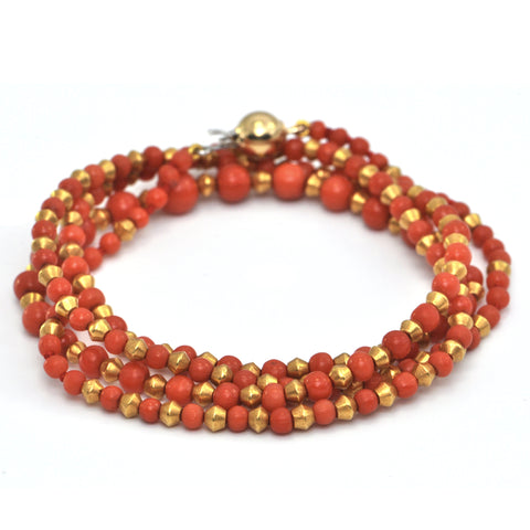 Vintage Italian Single Strand Wrap Coral and 22K Yellow Gold Beaded Bracelet + Montreal Jewelers