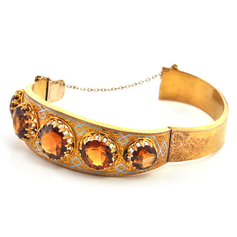 14K Antique Madeira Citrine Hinged Bangle - Westmount, Montreal, Quebec