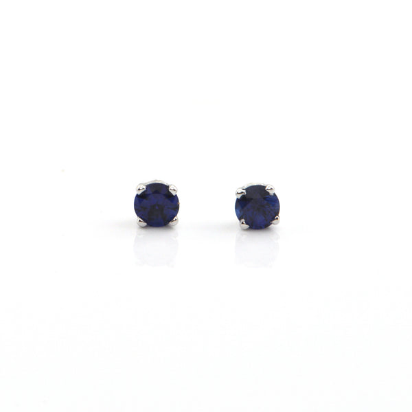 0.36CT Royal Blue Sapphire 18K White Gold Stud Earrings + Montreal Estate Jewelers