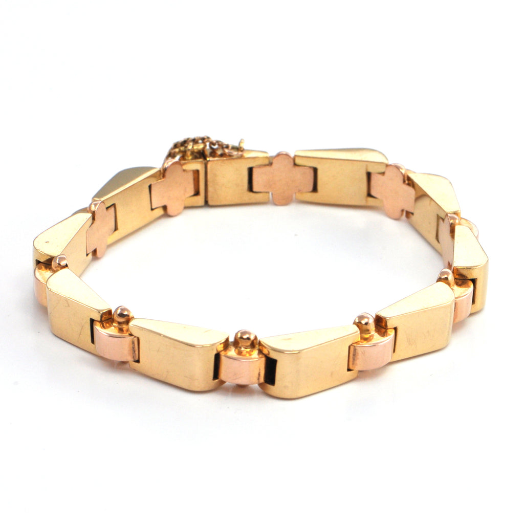 Vintage French 18k Rose Gold Hinged Link Bracelet, montreal estate jewellers