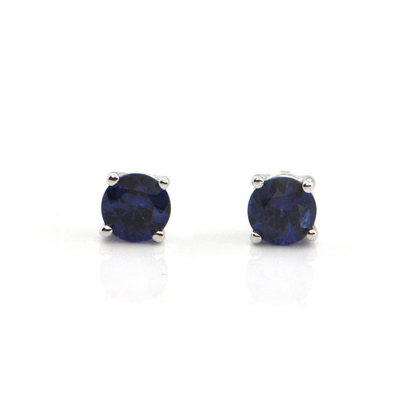 0.74CT Sapphire and 18K White Gold Stud Earrings + Montreal Estate Jewelers