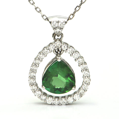 Tourmaline and Diamond Pendant - Montreal custom Jewelry design