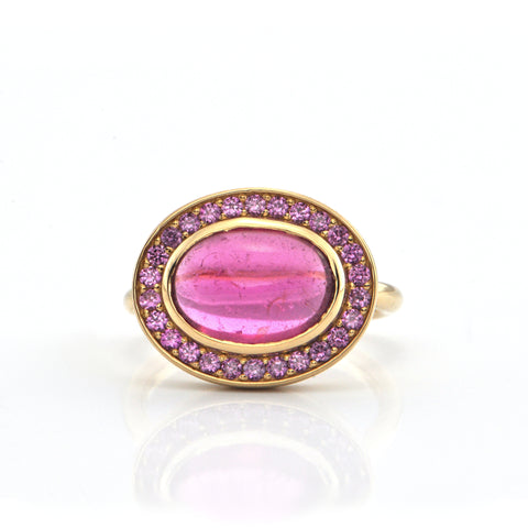 3.96CT Pink Tourmaline Cabochon with Pink Tourmaline Halo Set in 18K Yellow Gold + Montreal Estate Jewelers