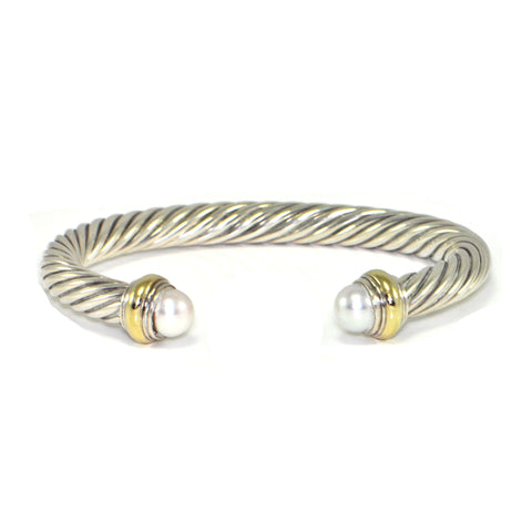 Vintage David Yurman 7mm Cable Classic Bracelet with Pearl + Estate Jewelers