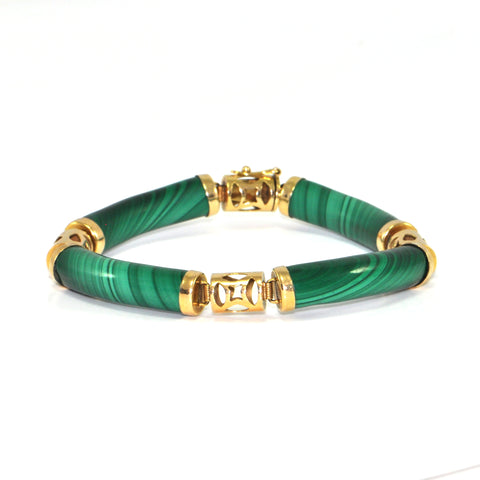 Vintage Green Malachite and 14k Yellow Gold Bracelet + Estate Jewelers