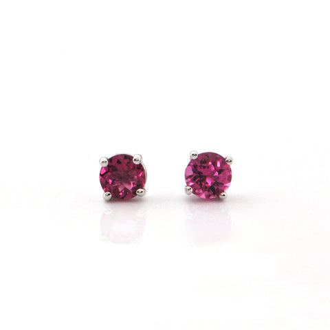 1.00 CT Pink Tourmaline and 18K White Gold Stud Earrings + Montreal Estate Jewelers