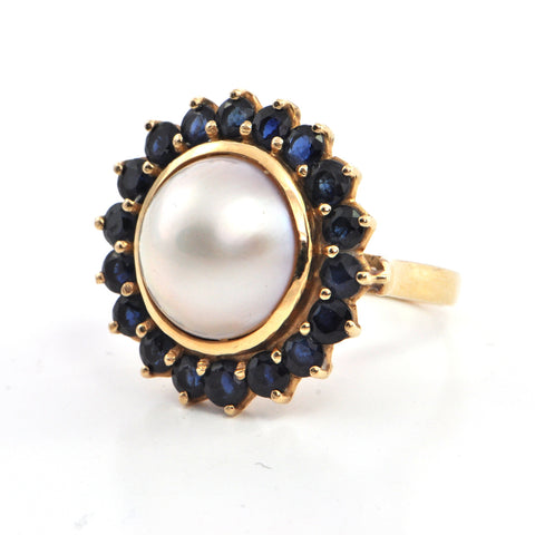 Vintage 18k gold Mabe pearl and Sapphire ring, montreal jewellers