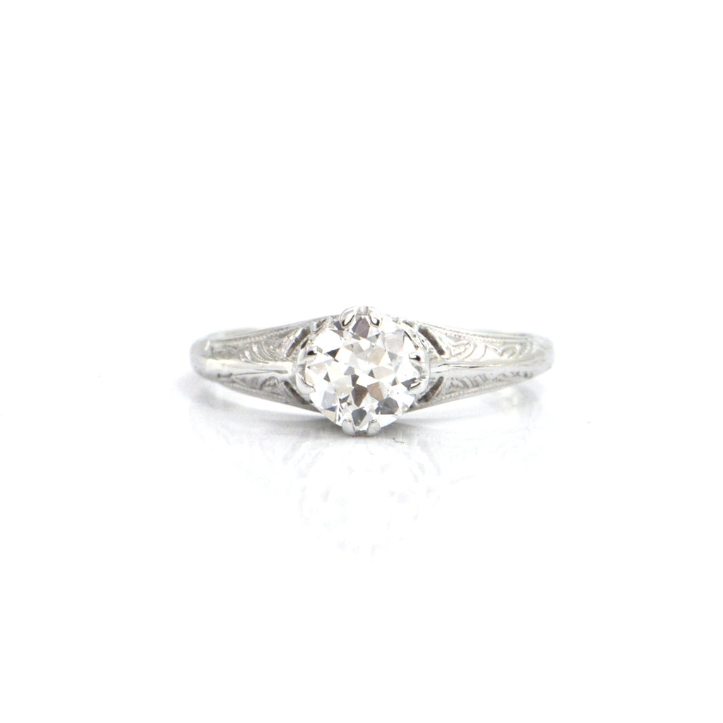 Edwardian 0.61CT Solitaire Diamond 18K White Gold Ring + Montreal Estate Jewelers