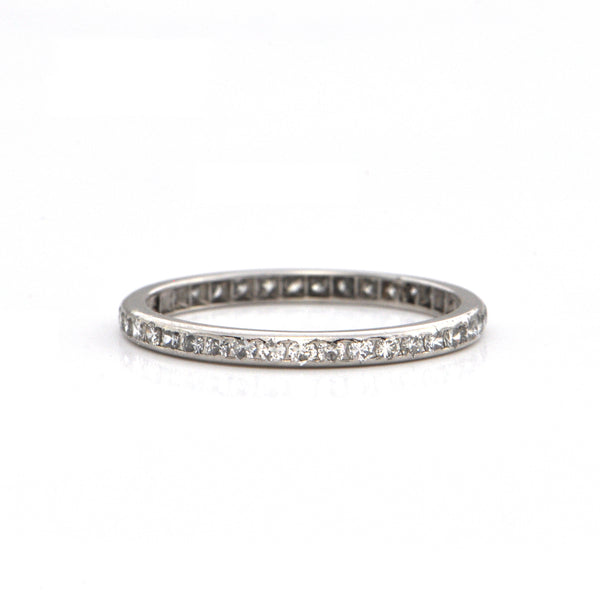 0.35CT Pavé Set Diamond and Platinum Eternity Band C.1930's + Montreal Estate Jewelers