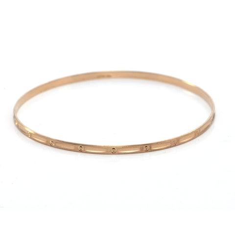 Vintage Italian 18K Rose Gold Bangle Bracelet with Engraved Circular Motif + Montreal Estate Jewelers