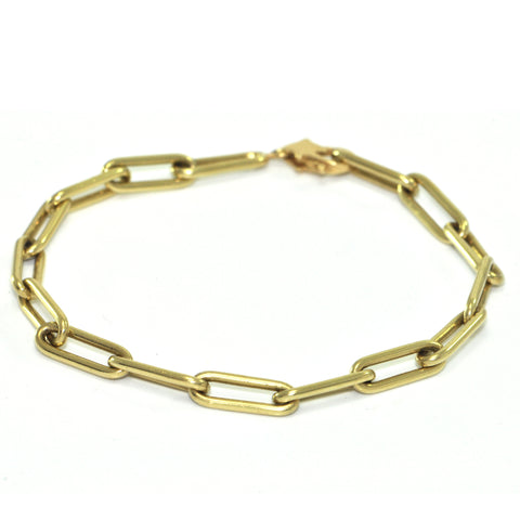 Vintage Italian 18K Yellow Gold Elongated Link Chain Bracelet + Montreal Estate Jewelers