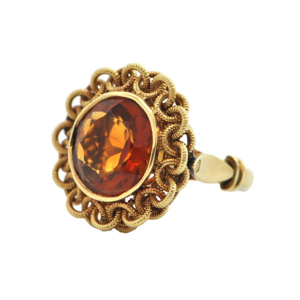 Mid-Century Madeira Citrine 18K Yellow Gold Ring + Montreal Estate Jewelers
