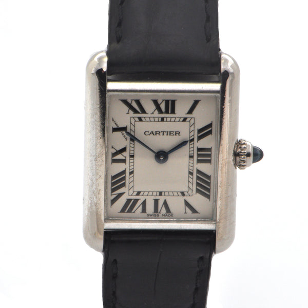 Cartier Tank Louis in 18K White Gold with Black Leather Strap + Montreal Estate Jewelers