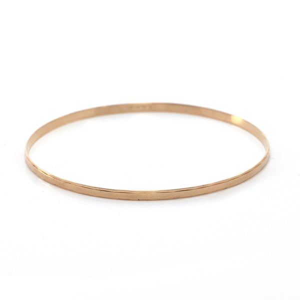 Vintage Italian 18K Rose Gold Bangle Bracelet with Rectangular Etching + Montreal Estate Jewelers