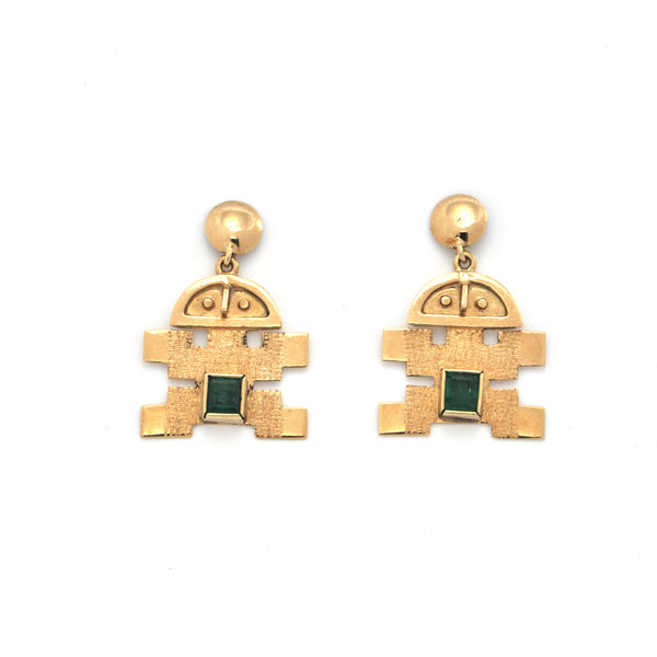 Vintage 0.36CT Emerald and 18K Yellow Gold Drop Earrings + Montreal Estate Jewelers