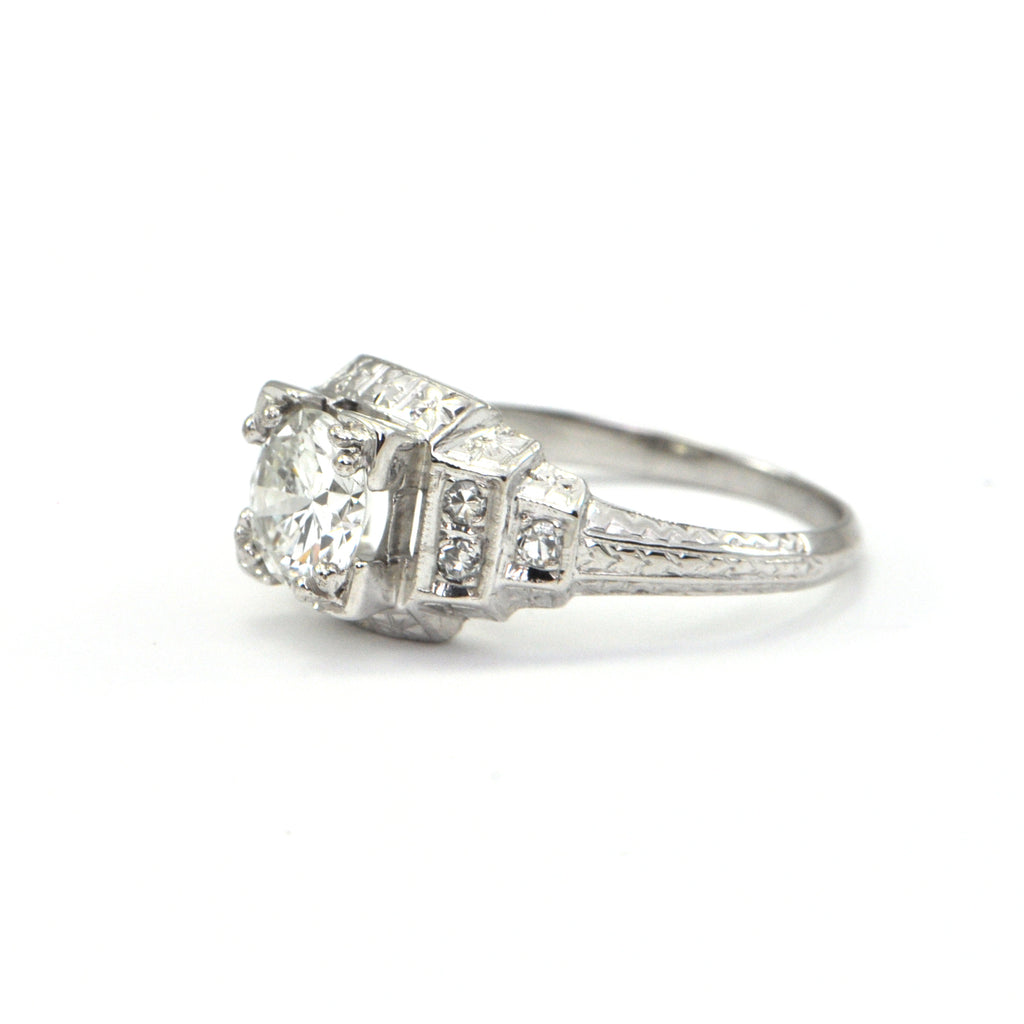 0.89 ct Old European cut Art Deco diamond ring Circa 1928 - GIA - montreal estate jewellers - engagement