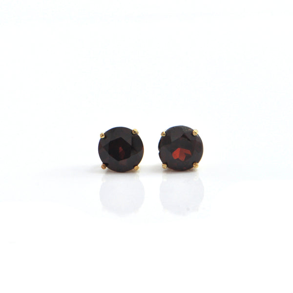 Garnet 18K Yellow Gold Stud Earrings + Montreal Estate Jewelers